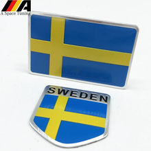 Aluminum Sweden Flag Car Styling Sticker Emblem Decal Badge For SE Cars Body Window Door for Volvo V70 XC60 S60 V60 V40 VW Golf(China)