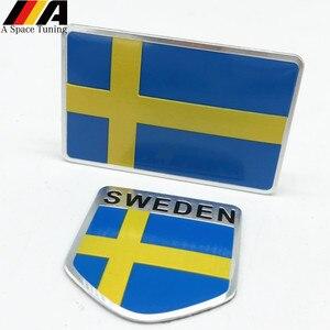 Aluminum Sweden Flag Car Styling Sticker Emblem Decal Badge For SE Cars Body Window Door for Volvo V70 XC60 S60 V60 V40 VW Golf(China)