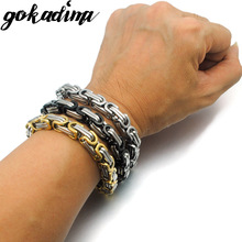 Men Bracelet Byzantine Stainless Steel Link & Chain Bracelets for man new pop jewelry  WB245