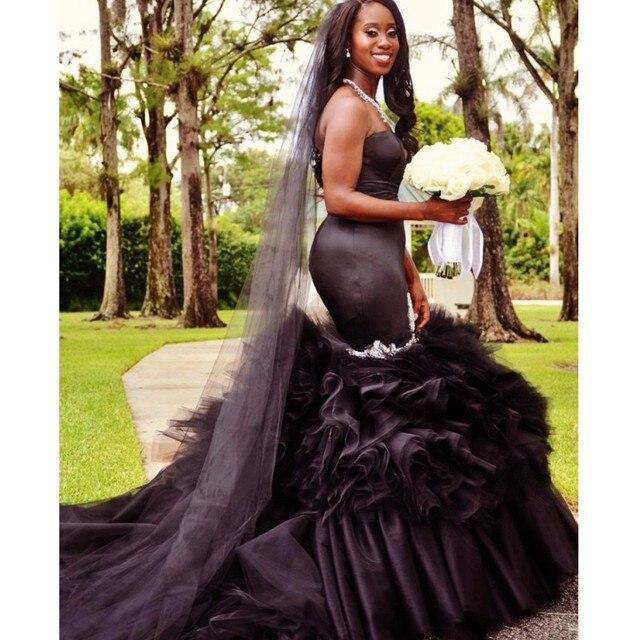 663a4c06537 Unique Vestido de noiva Black wedding dresses 2017 mermaid plus size  wedding gowns Bridal Gown robe de mariage 2017