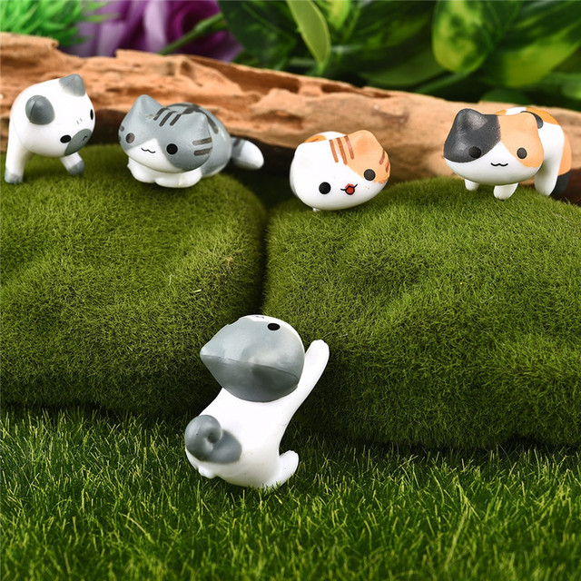 Fantasy Cartoon Cute 6pcs/ set Cat Fairy Garden Decoration Crafts Home Decor Fashion Micro Landscape Miniature Figurines 4