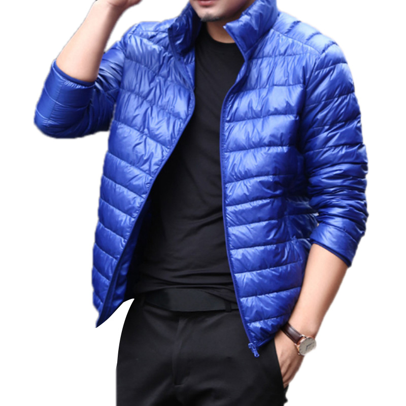 New Casual Men Down Jacket Winter Stand Collar Casual Warm Coat White Duck Down Outerwear Parka Fashion 5 Color Large Size