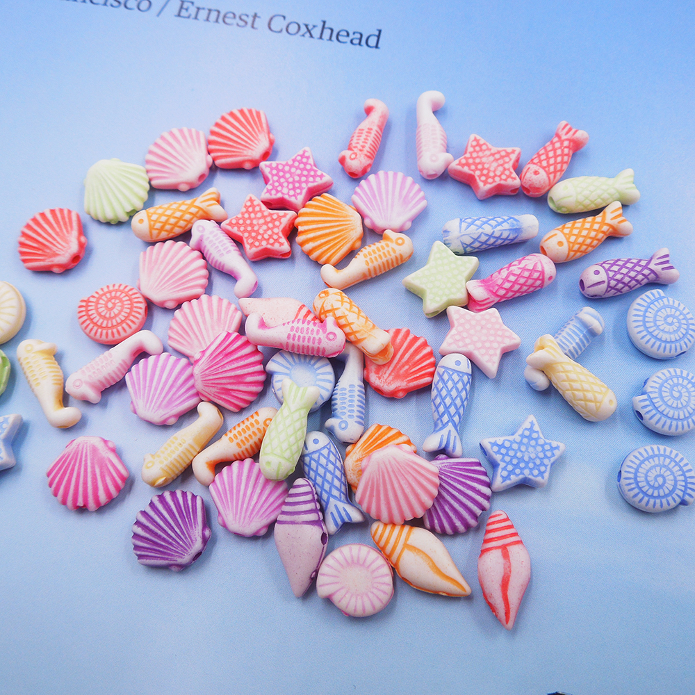 Unique Beaded Periwinkle Seashell Coloring Page: 60pcs Acrylic Cute Beads Mixed Colors Shells, Starfish