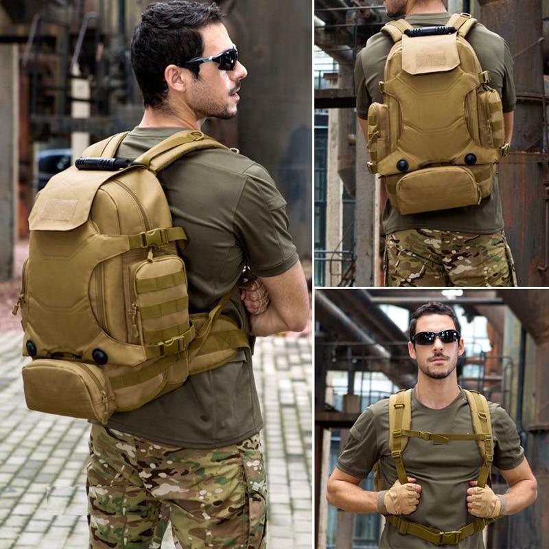 Al aire libre 2 Set mochilas tácticas Unidades militares bolsas de Camping bolso de Montañismo mochila de senderismo para hombre Mochila De Viaje + Paquete de cintura - 6
