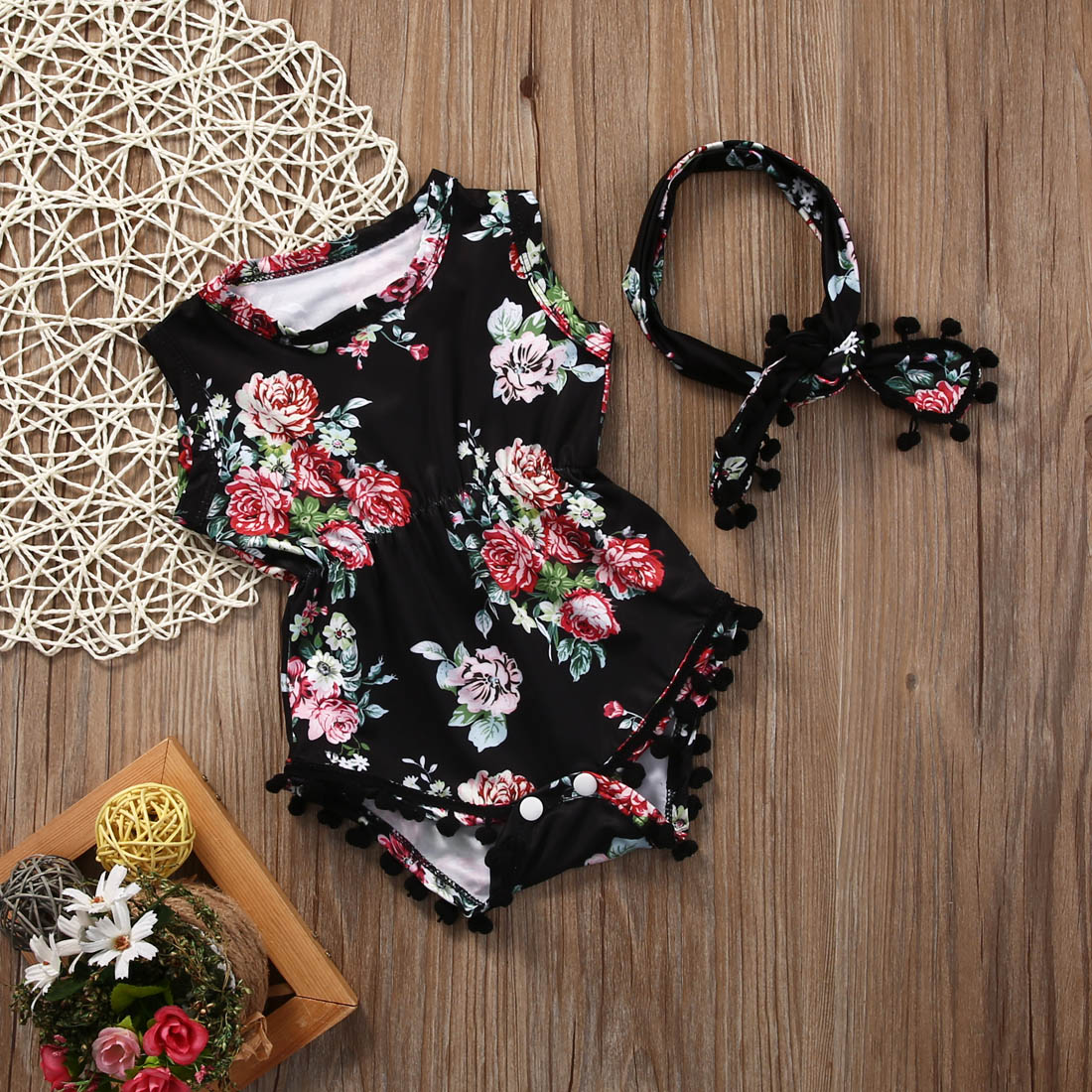 2018 Summer Fashion Baby Girls Floral Romper Jumper Jumpsuit Headband Outfits Clothes Sunsuit