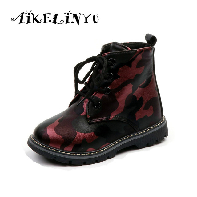 Girl Patent Leather Boots 2019 Spring Boys Side Zipper Casual Martin Boots  Children Flat Waterproof Boots Kids Camouflage Boots ad6934288fdf
