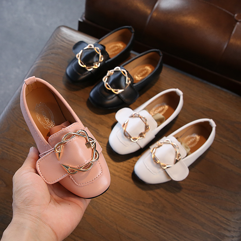 2019 Spring And Autumn New Girls Shoes Korean Version Flat Little Kids Black Princess Shoes Children's Casual Buckle Peas Shoes