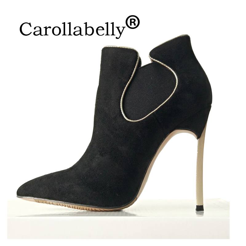 b0c137599fc Carollabelly Shoes Woman Ankle 12CM High Heels Winter Boots For Women  Pointed Toe Black Fashion Snow Shoes Women Boots