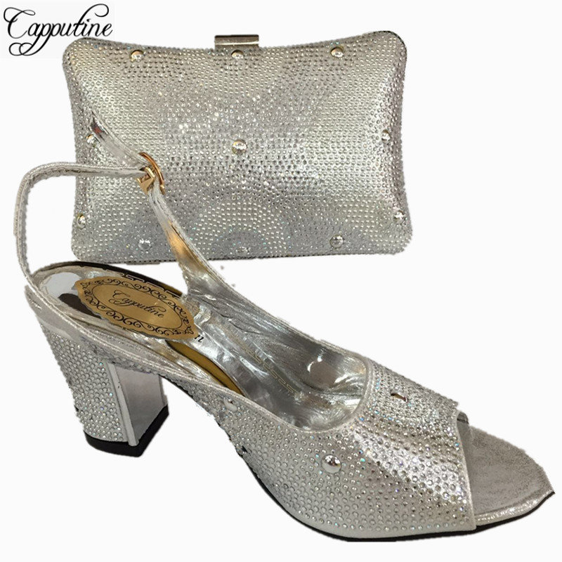 Capputine Newest Nigerian Wedding Shoes And Bag Italian Style High Heels  Shoes And Bag Sets For Party 6Colors On Sale BL765C-in Women s Pumps from  Shoes on ... 98b3b88a6f4d