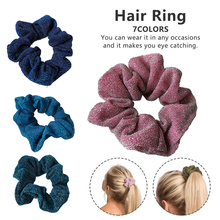 Shiny rubber band girl's hair tie hair sparkle metallic fringe elastic ponytail hair band