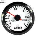 "Apoyo EE 2 ""Automóvil Reloj Negro Shell Blanco Dial Pointer Bar Turbo Boost Gauge 52mm Boost Meter Ventas XY01"