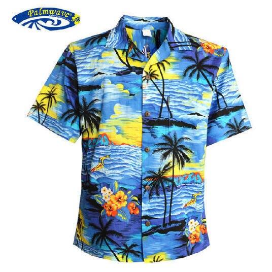 Hombres de la Camisa Hawaiana Tropical Beach Hawaiian Luau Party Crucero Al Atardecer palm tree hawaianos azul y rojo ee.uu. tamaño ocasional camisas V25
