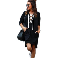 Women Hooded Vestido Fashion Bandage Loose Dress Long Sleeve Sweatshirt Hoodies Jumper Mini Dress Bodycon Party