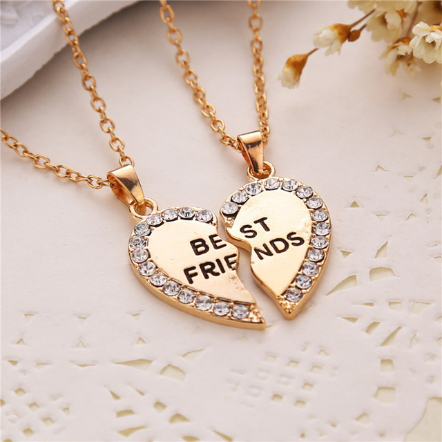 Misananryne Hot 1pair Cute Special Heart Pendant Best Friend Letter Necklace For Women Gifts