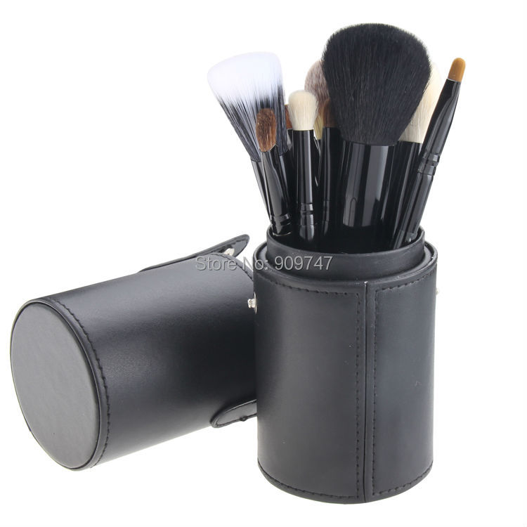 12 PCS Makeup Brush Set Cosmetic Brushes Tool Kit with Leather Cup Holder Case Make up tool Free shipping dental kerr finishing polishing assorted kit occlubrush cup brushes 1set