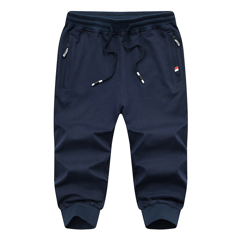 Hot Sale Solid Men's Calf Length Pant 4xl Summer Mens Capri Pants Cotton Casual Male Cropped Trousers Brand Clothing AF1806