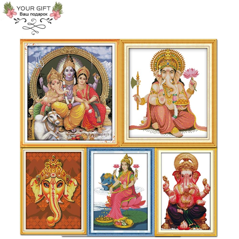 Joy Sunday R258R294R573R656R671 Home Decor Trunk Jixiang Kwan-yin Western Religions Thailand Ganesha GANESH Cross Stitch kits