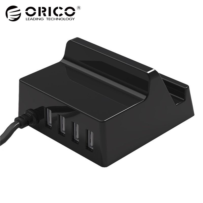 USB Charger Holder ORICO 4 Ports Desktop Smart Charger with Phone / Tablet Mount for Samsung iphone Power Bank - (CHK-4U)