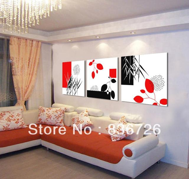 3 Piece Canvas Wall Art Modern Office Painting Black White Red Fashion Home Decoration Colorful