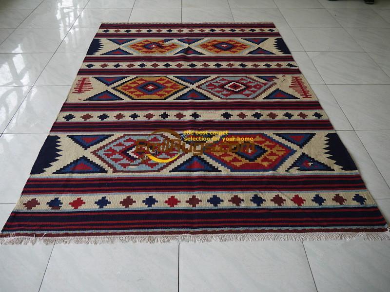 American Indian  Style Hand Woven Wool Carpet / Kilim Carpet / Kilim Rug  Living Room Coffee Table Gc137 63