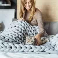 Новое модное одеяло крупной ручной вязки, плотная пряжа из мериносовой шерсти, объемные вязаные одеяла, грубая шерстяная ткань, одеяло BK004