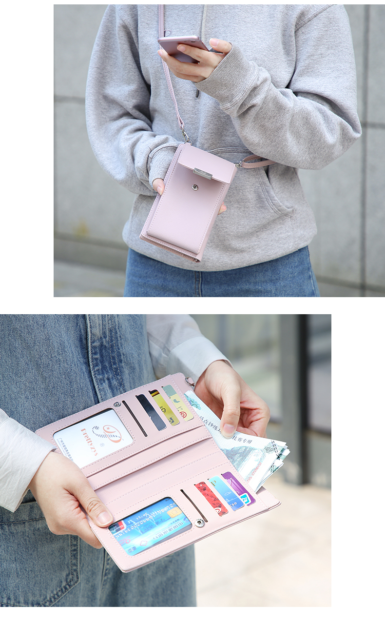 19 New Women Casual Wallet Brand Cell Phone Wallet Big Card Holders Wallet Handbag Purse Clutch Messenger Shoulder Straps Bag 36
