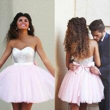 Ренда сшитое блестками homecoming vestido бальные милая пром розовый короткие де