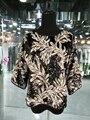 2017 новая коллекция весна подлинная круглый цветок вышивка тяжелое Вышитый Бисером блестками шифона рубашку три четверти рукав блузки