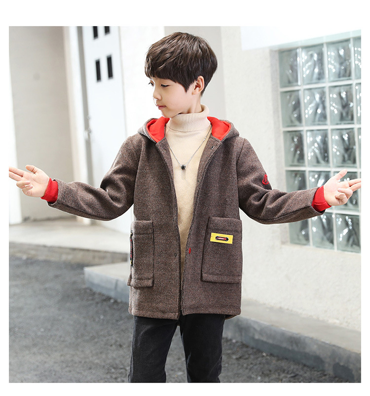 High quality New Boys Winter Coat Fashion Solid Kids Wool Coats Jacket Boys Children Outerwear pioneer camp new mens jackets coat brand clothing casual bomber jacket men fashion quality solid outerwear coats male ajk801051