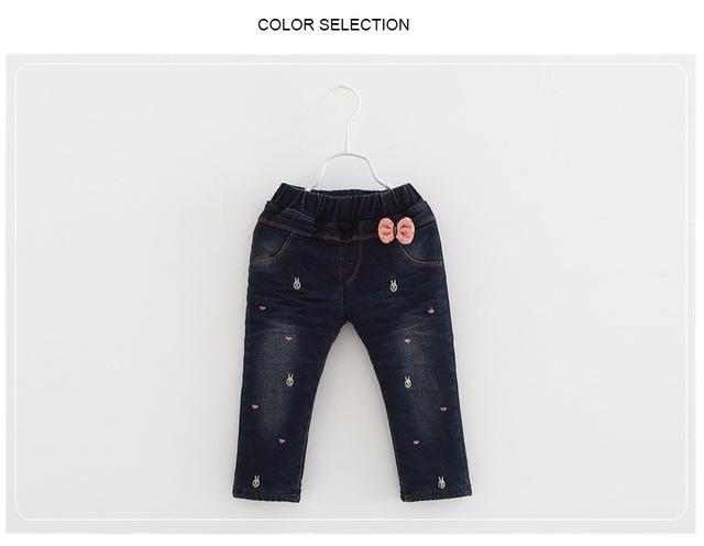 Inverno novas crianças calças grossas meninos e meninas além de veludo calças de brim do bebê idade 1-3 T