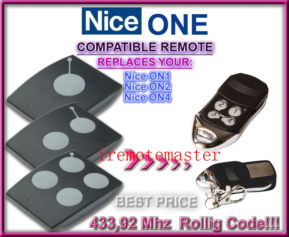 Hot! Nice ON1,ON2,ON4 replacement remote 433,92MHZ Rolling code,Nice transmitter