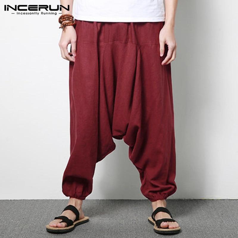 Men Harem Pants  Cotton Streetwear Joggers Solid Pants 2020 Drop-crotch Trousers Men Loose  Pantalones Hombre S-5XL INCERUN