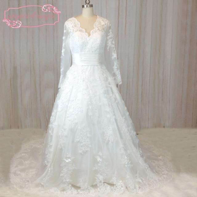 SuperKimJo Vintage Langarm spitze Hochzeitskleid 2018 Elegante ...