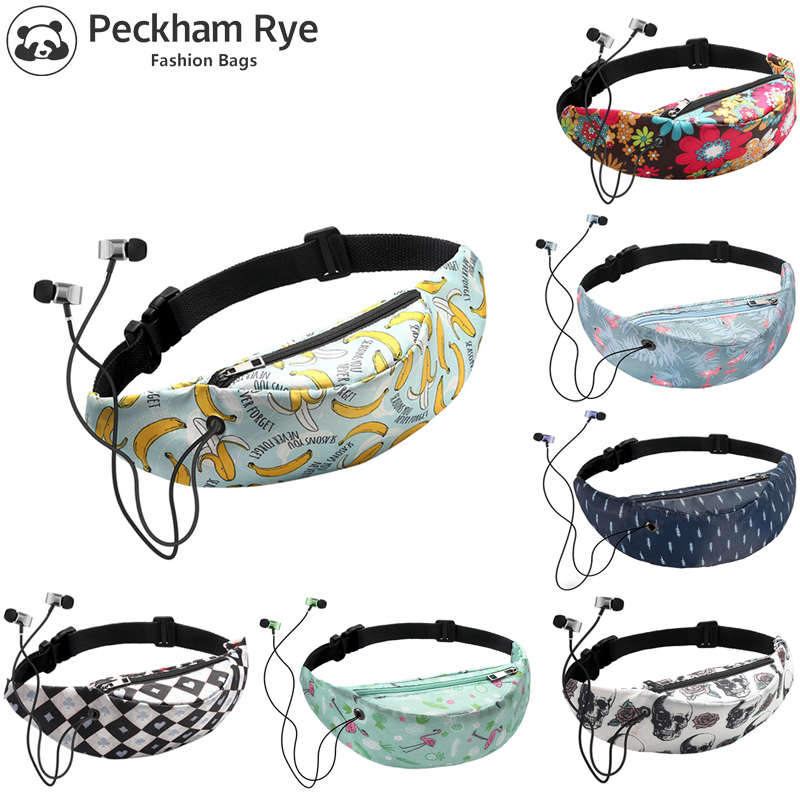 Fashion Women Waist Bag Fanny Pack 3D Colorful Banana Printing Travel Vintage Waist Pack Mobile Pouch Money Belt Bum Chest Bags