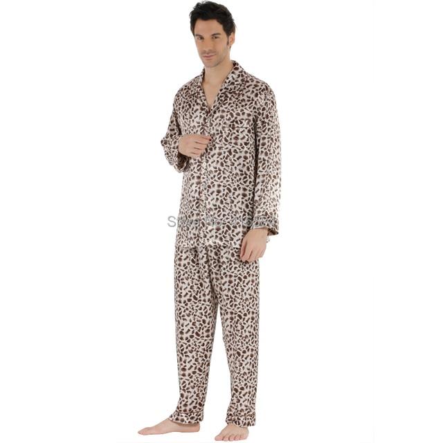 Plus Size Satin Men Pajamas New Chinese Men's Satin Pajamas Polyester Long Sleeve Leopard Print Satin Sleepwear