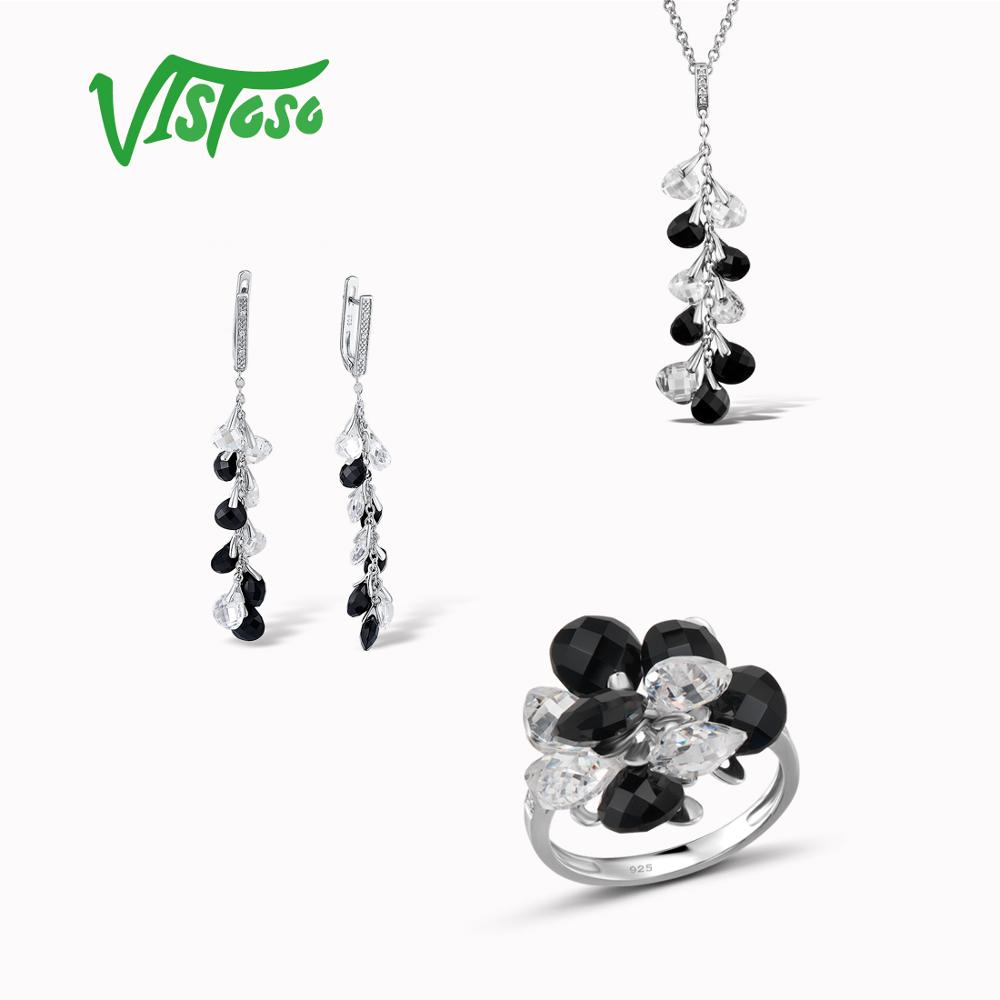 VISTOSO Jewelry Sets For Woman Sparkling luxury Black Onyx Earrings Pendant Ring 925 Sterling Silver Fashion Fine Jewelry