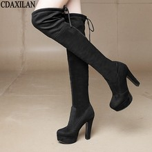 CDAXILAN new arrivals over the Knee Boots Women Faux Suede Thigh High Boots 11cm high-heel Stretch Slim Sexy Ladies Winter Boots цена