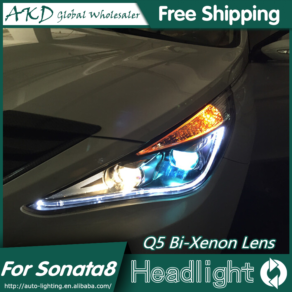 AKD Car Styling for Hyundai Sonata Headlights 2011-2014 Sonata 8 LED Headlight DRL Bi Xenon Lens High Low Beam Parking Fog Lamp new headlight headlamp left right for hyundai sonata 8 head led light bar drl 2011 2015 h7 bi xenon