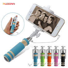 HUDONN Extendable Fold Wired Selfie Stick Folding Handheld Monopod Self-portrait Mini Stick Holder For iPhone Samsung Smartphone