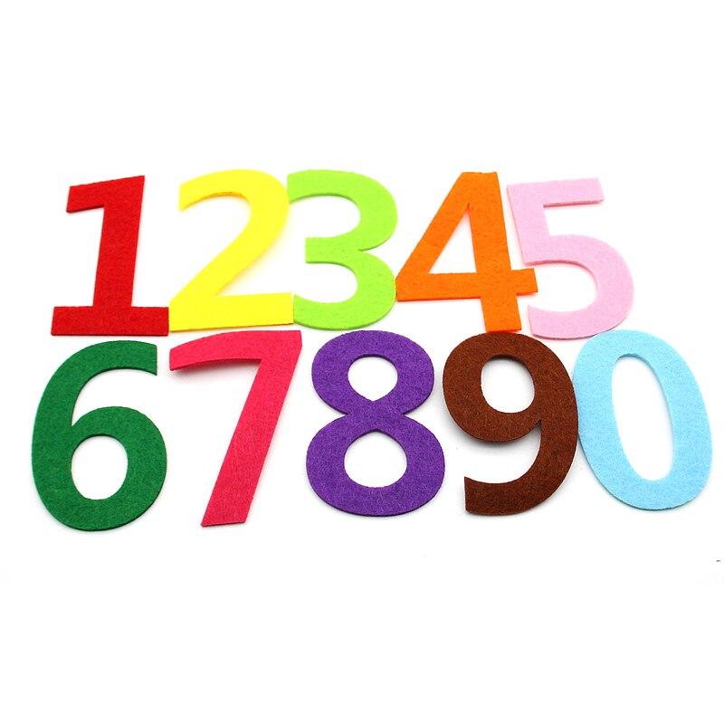 10pcs/lot Mix Color 0-9 Number Felt Cloth Material Diy Felt Children Room Home Decoration Craft Kindergarten Decoration New