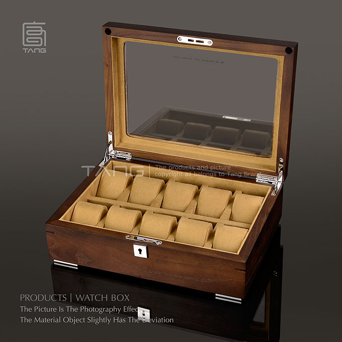 Tang 10 Slots Wooden Watch Case Fashion Wood Material Watch Storage Box With Lock Mechanical Watch Display Box Case C0133 top 5 slots wood watch display box black wood watch storage box with lock fashion wooden watch gift jewelry box d023