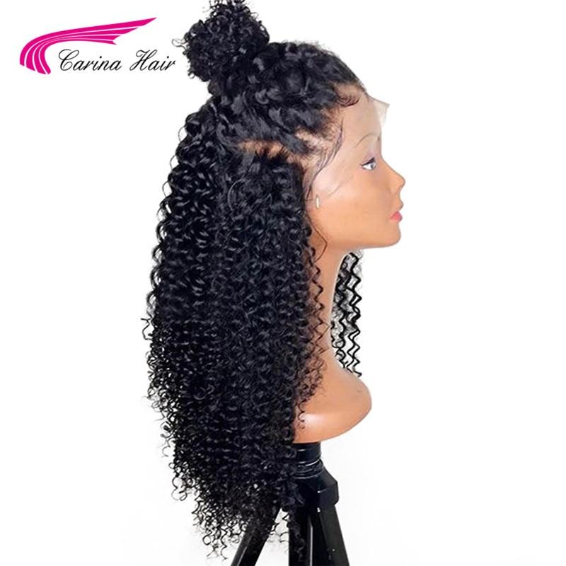 Carina קינקי מתולתל מראש-קטף מלא תחרה שיער טבעי פאות עם תינוק שיער ברזילאי רמי שיער טבעי תחרה מול פאות מולבן קשרים