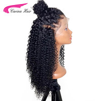 Carina Kinky Curly Pre Plucked Full Lace Human Hair Wigs With Baby Hair Brazilian Remy Human Hair Lace Front Wigs Bleached knots