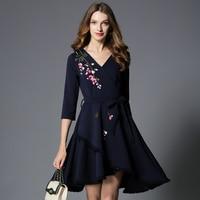 Irregular new women's european fashion dress blue v neck embroidered Flower autumn outfit vestidos with belt design clothes