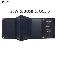 UVR 28W QC3.0 Solar Power USB Charger for IPhone Samsung Huawei Smart Device Fast Charge 3USB Waterproof SUNPOWER Solar Panels