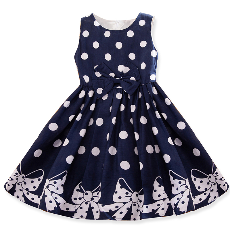 Kids Dresses For Summer Girls Dress Polka Dots Princess Baby Party Dress For Kids Teenage Girl Children 4 5 6 7 8 9 10 12 Years(China)