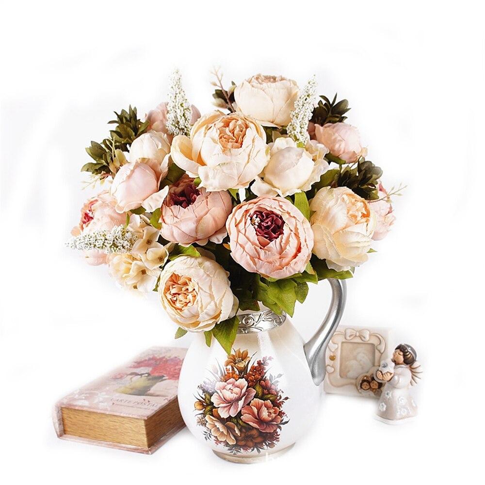 8 cabezas/ramo de flores artificiales de seda de peonía Hortensia nupcial decoraciones de boda decoraciones de mesa para suministros Textiles para el hogar