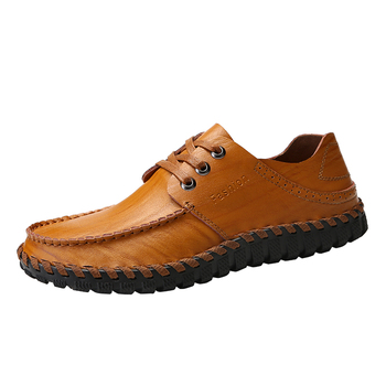 Men Genuine Leather Loafers Fashion Handmade Moccasins Leather Lace Up Men's Breathable Driving Shoes Lightweight Large Size