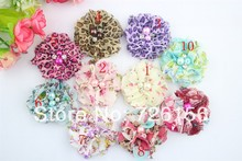 240pcs/lot Colorful Floral Print Chiffon Flower Pearls And Rhinestones Fabric Flowers Flat Back