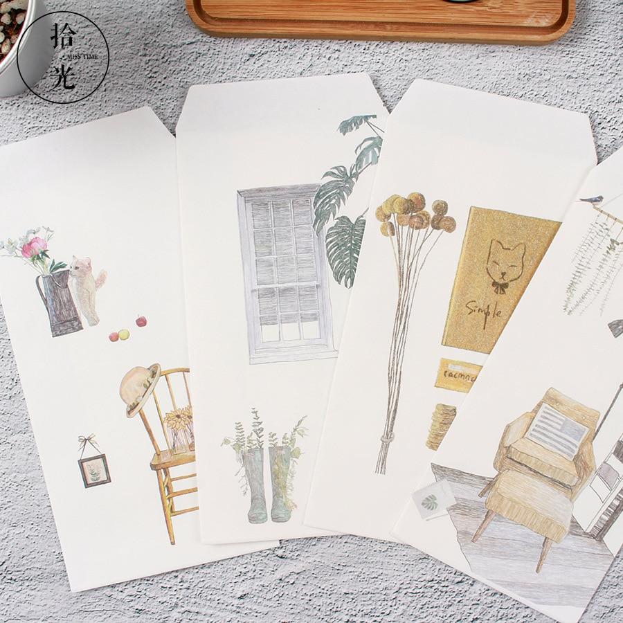 9 Pcs/Set 3 Envelopes+6 Letter Papers Novelty Plant Flower Animal Letter Envelope Set Gift Korean Stationery